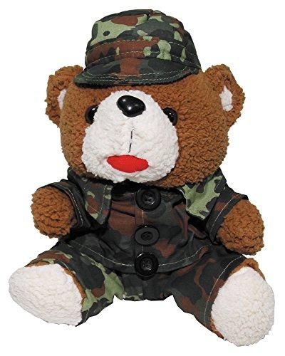 Teddybär, 28 cm, mit Anzug und Mütze, flecktarn