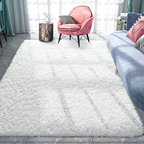 Pacapet Fluffy Area Rugs, Cream Shag Rug for Bedroom, Plush Furry Rugs for Living Room, Fuzzy Carpet for Kid's Room, Nursery, Home Decor, 6 x 9 Feet