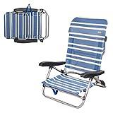 AKTIVE 62600 Chaise de Plage Pliable Basse 5 Positions Marin Beach 61 x 53 x 78 cm, Matériaux combinés, Bleu, 78 x 62 x 77 cm