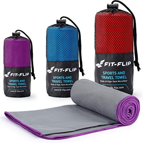 Fit-Flip Grau mit lila Rand, 1x 160x80cm | mikrofaser Handtuch sporttuch mikrofaser Handtuch fitnessstudio