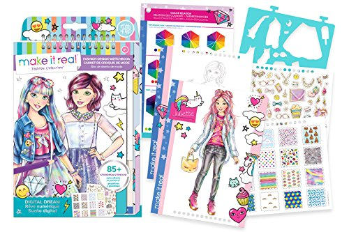 Make It Real 3203 Fashion Design Sketchbook: Digital Dream. Inspirational Fashion Design Coloring Book for Girls