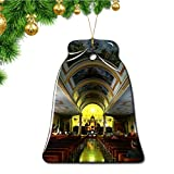 Hqiyaols Ornament Catedral de Costa Rica de Alajuela Navidad Adornos Colgantes Pieza Cerámica Forma Campana Recuerdo Ciudad Viaje Regalo