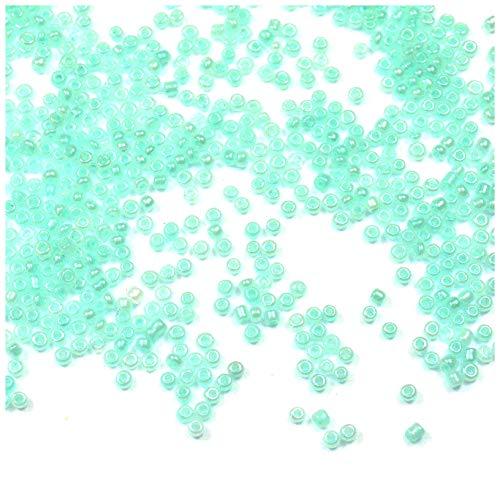 Lote de 600 rocallas de 2 a 3 mm irregulares, perlas de 2 mm 3 mm, cristal rocallas 10/0, fabricación de joyas, perlas de colores a elegir (verde pastel)