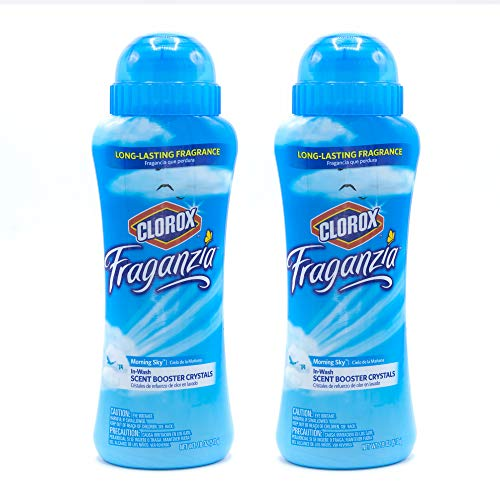 Clorox Fraganzia in-Wash Scent Booster Crystals | Laundry Freshener Beads in Morning Sky Scent for Fresh, Clean, Great Smelling Clothes | 18 Oz Each – 2 Pack