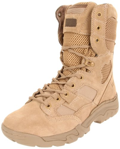 5.11 Tactical Men's Taclite 8-Inch Leather Combat Work Boots, Oil-Resistant Outsole, Coyote, 37 EU Wide, Style 12031