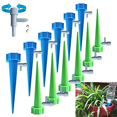 MINGUUK Lot de 12 dispositifs d'arrosage automatique pour plantes (12 pièces), kit d'irrigation goutte à goutte automatique avec contrôle à libération lente,convient à toutes les bouteilles