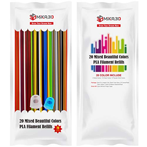 20 Mixed Colors 3D Printing Pen Filament Refill, Each 0.3 Meter, Each Color 5pcs, Total 100pcs 30 Meters PLA Plastics, Support for 3Doodler Create 3D Pen, with Extra Gift 2 Finger Caps by MIKA3D