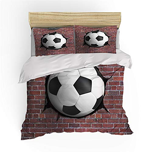 Duvet Cover Football 3D Creative Art Painting Wall Graffiti Earth City Landscape Sports Style Children Adolescent Boy Microfiber Bedding Set Quilt cover and Pillowcases (Football 5,Single)