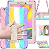 """BRAECN Samsung Galaxy Tab A 8.0 Case 2019, Heavy Duty Rugged Shockproof Case with Hand Strap, Kickstand, Carrying Shoulder Strap for Galaxy Tab A 8.0"""" 2019 Model SM-T290 SM-T295 SM-T297-Light Rainbow"""