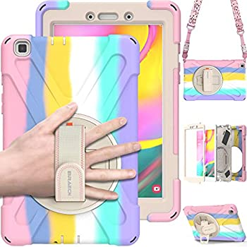 """BRAECN Samsung Galaxy Tab A 8.0 Case 2019 Heavy Duty Rugged Shockproof Case with Hand Strap Kickstand Carrying Shoulder Strap for Galaxy Tab A 8.0"""" 2019 Model SM-T290 SM-T295 SM-T297-Light Rainbow"""