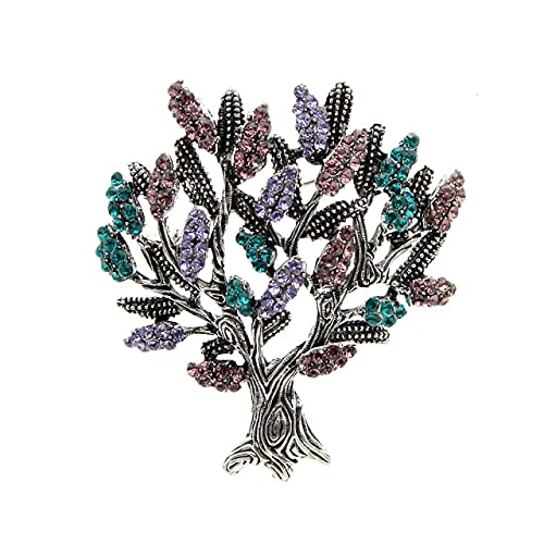 Broches de árbol de diamantes de imitación para mujer Vintage Fashion Plant Pin