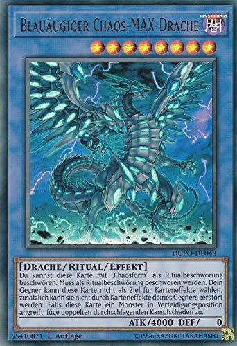 DUPO-DE048 - Blauäugiger Chaos-MAX-Drache - Ultra Rare - Yu-Gi-Oh - Deutsch - 1. Auflage im Set mit Ultra Pro Toploader und Ultra Pro Schutzhülle (Klarsicht)