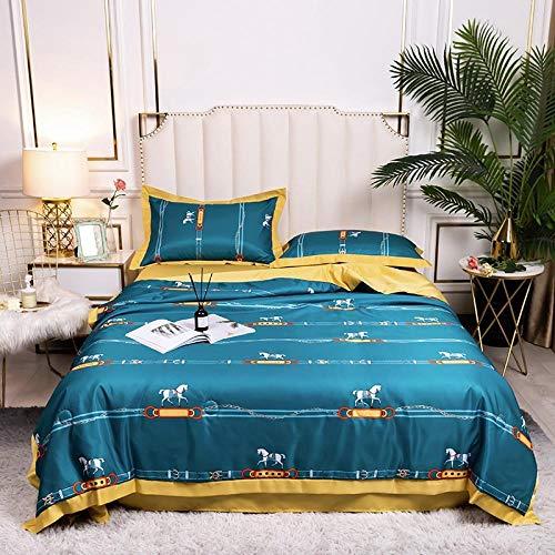 Meet Beauty Juego de ropa de cama de satén para cama king size + 2 fundas de almohada para decoración de dormitorio, colcha reversible en relieve, azul (150 x 200 cm)