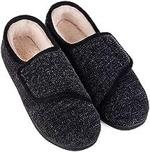 LongBay Women's Furry Memory Foam Diabetic Slippers Comfy Cozy Arthritis Edema House Shoes (10 B(M), Black)