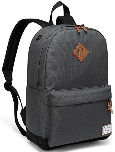 Schulrucksack, Kasgo Wasserabweisend Klassischer Rucksack Schule Herren mit Gepolstertem 14 Zoll Laptopfach Schultasche für Teenagers Grau und Schwarz MEHRWEG