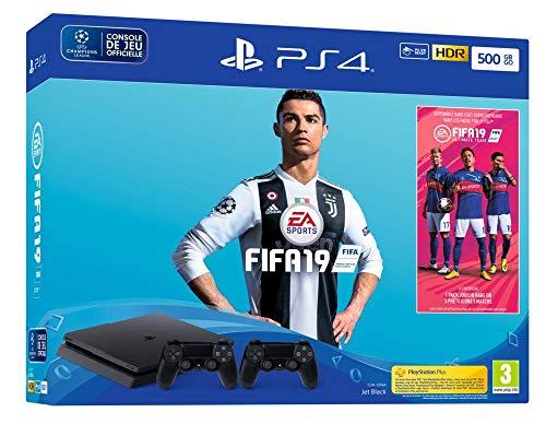 PS4 500 Go F - noir avec FIFA 19 - Edition Standard et 2nd DualShock 4 + PS Plus Voucher 14 Jours
