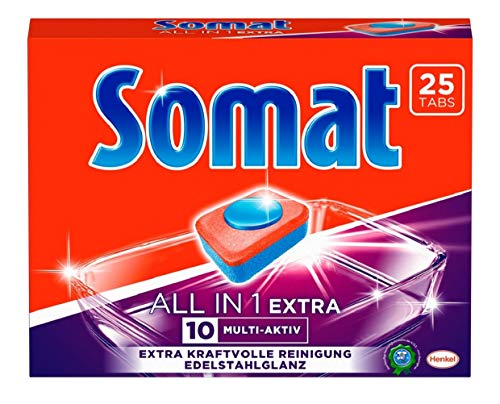Somat 10 All in 1 Extra Multi Aktiv, Spülmaschinen-Tabs, Jahresvorrat, 200 (8 x 25) Tabs, extra kraftvolle Reinigung und Edelstahlglanz