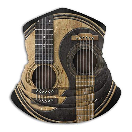 Fenrris65 Viejo y desgastado Guitarras acústicas Yin Yang Unisex a prueba de viento deportes bufanda al aire libre cuello calentador bandana pasamontañas headwear