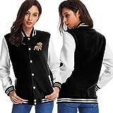 INFINITE&YOUTH Baby Pupper Bulldog Womens Baseball Uniform Sweater Coat Black