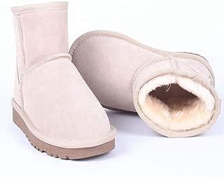 Women Waterproof Faux Suede Short Boots Slip On Warm Fur Lined Anti-Slip Classic Snow Ankle Bootie