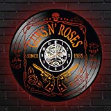 Guns-N-Roses Lighted Vinyl Wall Clock - Slick Design for Boy - Decoration for Dining Room - Appetite for Destruction - Dizzy Reed - Use Your Illusion, G N' R Lies, Rocket Queen (Red)