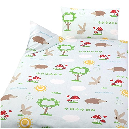 Juego de ropa de cama infantil (3 piezas, 100 x 135 cm, 40 x 60 cm, 1 sábana bajera de 70 x 140 cm, 100% algodón), diseño de conejo y erizo