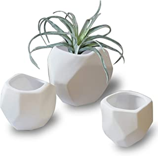 White Geometric Ceramic Flower Pots - Unglazed Decorative Table Centerpiece Vases Set, Planter Pots Indoor for Succulent Cactus Artificial Plants, Home Decor Gift