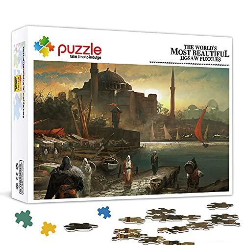 Family Fun Jigsaws Puzzles 1000 Piezas Assassin's Creed Revelations Juego de rompecabezas de madera Rompecabezas Juegos educativos Decoración del hogar Rompecabezas 75x50cm