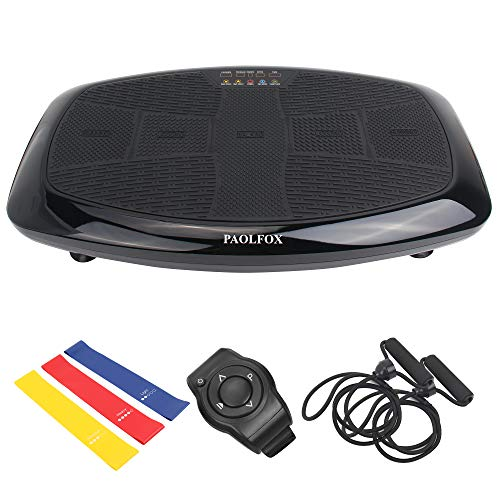 PAOLFOX 3DVibration Plate Exercise Machine, Full Body Workout Vibration Platform - Home Workout Equipment w/Loop Bands,Resistance Band for Weight Loss, Toning & Wellness, 99 Levels (Black)