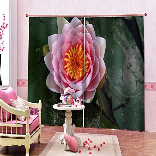 RYQRP Cortinas Salon Flor Rosa Tenda da Finestre in Poliestere con Ganci Termica Isolante Tenda Oscurante per Cucina Soggiorno Cameretta Decorazione 220x215cm