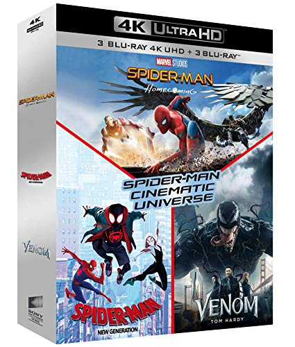 Coffret spider-man cinematic universe 3 films : homecoming ; new generation ; venom 4k ultra hd
