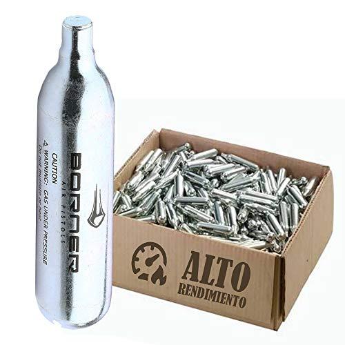 BORNER - Bombonas de CO2 de Alto Rendimiento | Capsulas de Aire comprimido con Cargas de 12 gr para Armas de Airsoft o Pistolas de balines y perdigones (30 bombonas)