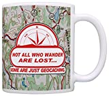 Geocaching Not All Who Wander are Lost Funny Geocachers Coffee Mug Tea Cup Map