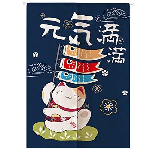 Liveinu Maneki Neko Japanische Noren Tür Vorhang mit Teleskopstange Leinen Vorhang Panels Für Schlafzimmer Badezimmer 85 x 120 cm Glückliche Katze 3