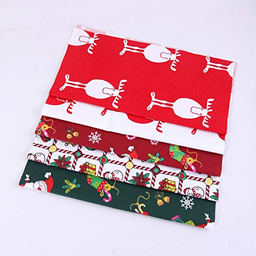 Christmas Fabric by The Yard Cotton 5pcs (10 x 10 in),Christmas Gifts,Christmas Fabric Fat Quarters Bundles Multi-Color