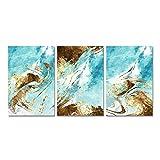 Pintura de Pared Impresión en Lienzo Carteles e Impresiones Arte de Pared Imágenes abstractas de Oro y Azul Marino Sala de Estar Decoración del hogar - (30x40cm) x3pcsSin Marco