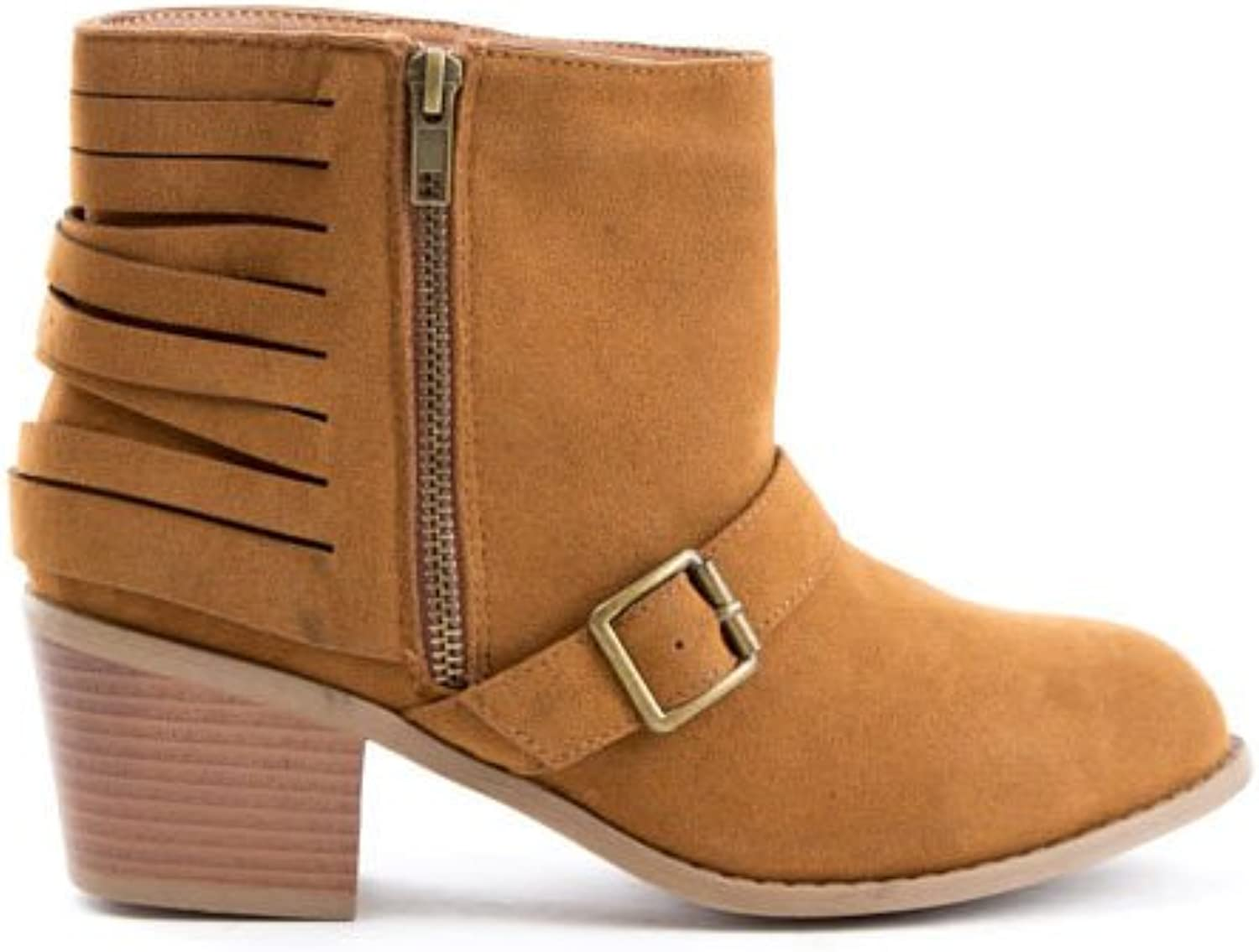 Soho shoes Women's Suede Buckle Cut Out Ankle Boots