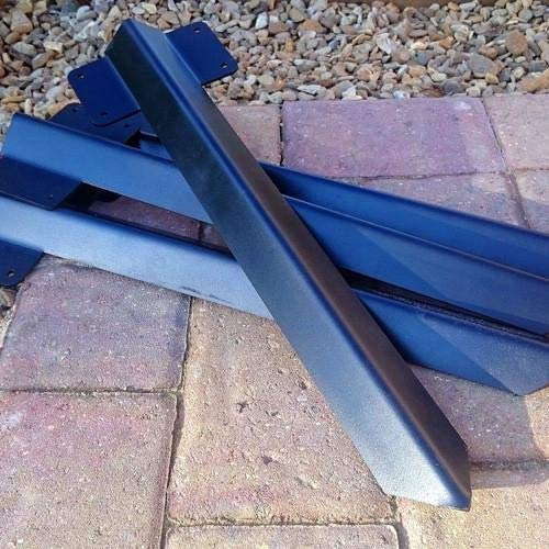 Pack of 10 x Timber Railway Sleeper Driveway Path Straight Edge Edging Bracket Heavy Duty - Black