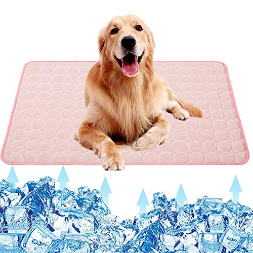 TPYQdirect Pet Cooling Mat for Dogs Cats Puppy, Washable Dog Cooling Pad Blanket Ice Silk Sleeping Pad Blanket, Indoors&Outdoors Summer Self Dog Cooling Mats for Kennel Sofa Bed Cars