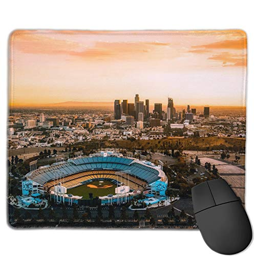 Aerial View of The Dodgers Stadium Gaming Mouse Pad, Square Cartoon Theme Non Slip Rubber Mouse Pad, Suitable for Game Office Laptop Cute Custom Pattern, 12x10 Inch