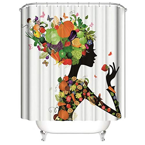 Shower Curtain. Waterproof. Shower Curtain Rod Ring Hook. Background. Party. Living Room.Contains 12 Hooks. Bathroom Accessories.Fruits And Flowers. Girl.