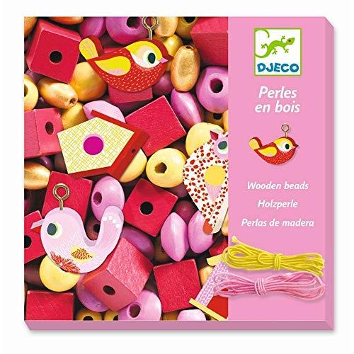 Djeco 09809 Bastelset Schmuck basteln aus Holzperlen Kleine Tiere Rosa