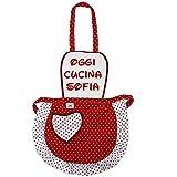 Grembiulino PERSONALIZZATO baby cm.39x50 Grembiule Cucina Bambini TAGLIA UNICA BAMBINO Cotone 100% Made in Italy (DISEGNO POIS) colore bordeaux (BORDEAUX)