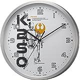 STAR WARS (スター ウォーズ) 掛け時計 電波 アナログ ローグ・ワン (K-2SO) 【 限定商品 】 アルミ フレーム シルバー リズム時計 8MY508MC19
