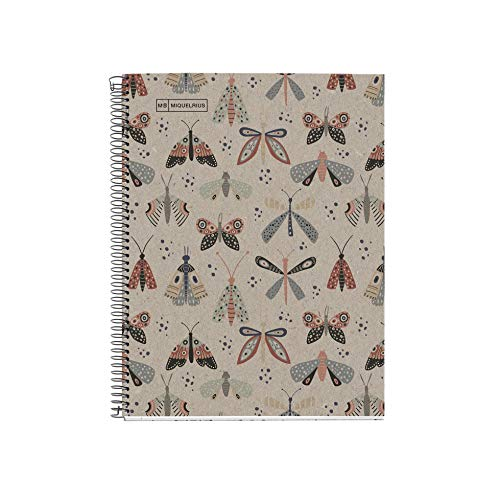 Miquelrius - Cuaderno Libreta Notebook 100% Reciclado - 1 franja de color, A5, 80 Hojas cuadriculadas 5mm, Papel 80 g, 2 Taladros, Cubierta de Cartón Reciclado, Diseño Ecobutterfly