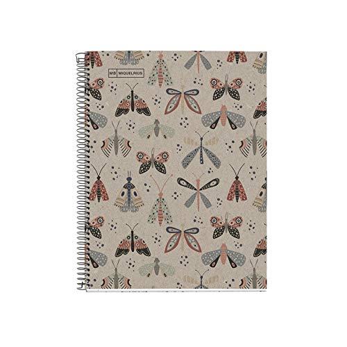 Miquelrius Cuaderno Libreta Notebook 100% Reciclado - 1 franja de color, A4, 80 Hojas cuadriculadas 5mm, Papel 80 g, 4 Taladros, Cubierta de Cartón Reciclado, Diseño Ecobutterfly
