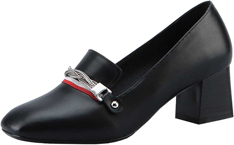 Artfaerie Womens Block Heel Loafer Slip On Mid Heel Pumps Dress Court shoes