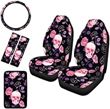 Cozeyat Purple Rose Skull Print Automobile Seats Protector 2pc with Steering Wheel Cover,Seatbelt Covers,Armrest Center Console Cover,Soft Nonslip Vehicle Accessory Women Gifts