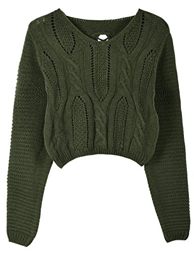 PrettyGuide Women's Long Sleeve Eyelet Cable Lace Up Crop Top ArmyGreen L
