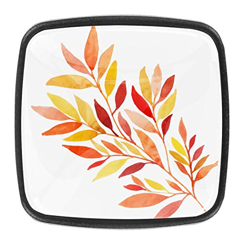 4 pomelli in vetro di cristallo per armadietti, maniglie per cassettiere, cassetti, ante con viti, acquerello, foglie autunnali